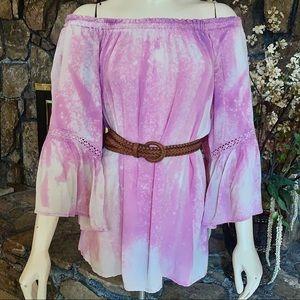 Off the Shoulder Tie Dyed Bell Sleeves Tunic Top